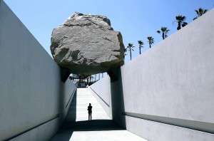"[Melcon, Mel -- B582145654Z.1 LOS ANGELES, CA-JUNE20, 2012: Michael Heizer's ""Levitated Mass,"" the commissioned sculpture at the Los Angeles County Museum of Art (LACMA), gives visitors the chance to walk underneath a 340 ton granite boulder. The sculpture opens to the public on this Sunday, June 24. (Mel Melcon/Los Angeles Times)] *** []"