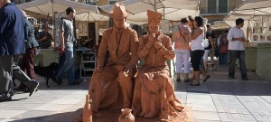 The 'clay' statues in Palma's satureday market